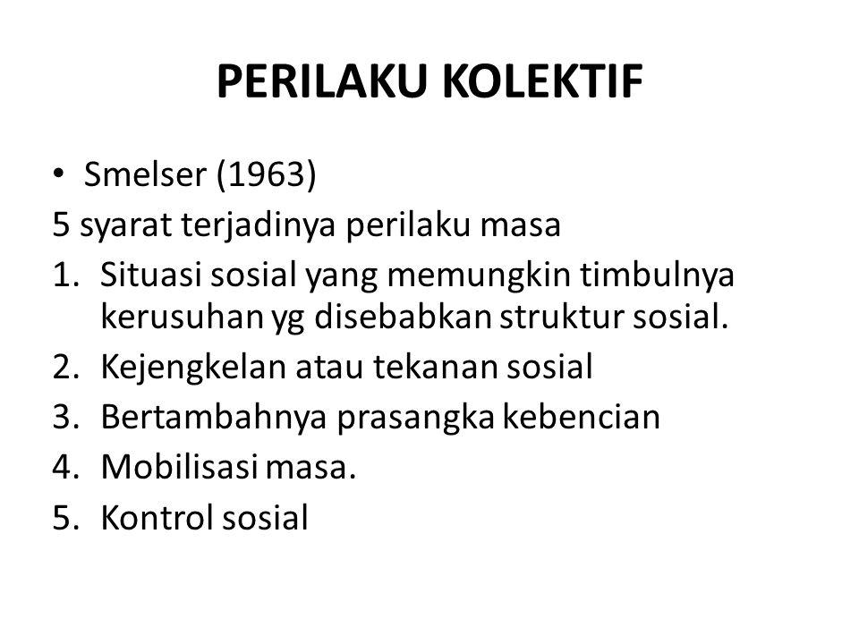 PERILAKU KOLEKTIF Smelser (1963) 5 syarat terjadinya perilaku masa 1.Situasi sosial yang memungkin timbulnya kerusuhan yg disebabkan struktur sosial.