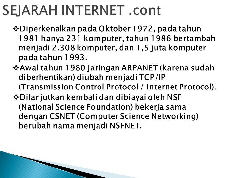 1.WORLD WIDE WEB [WEB] Mengakses informasi berupa teks, gambar, suara, film, dll.