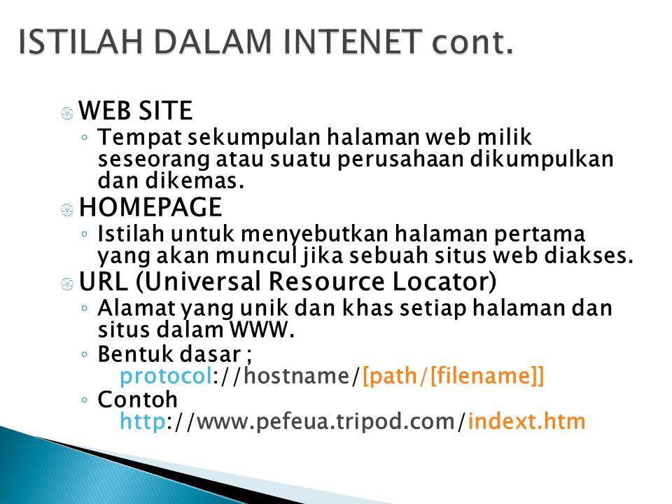  WEB SITE ◦ Tempat sekumpulan halaman web milik seseorang atau suatu perusahaan dikumpulkan dan dikemas.  HOMEPAGE ◦ Istilah untuk menyebutkan halam