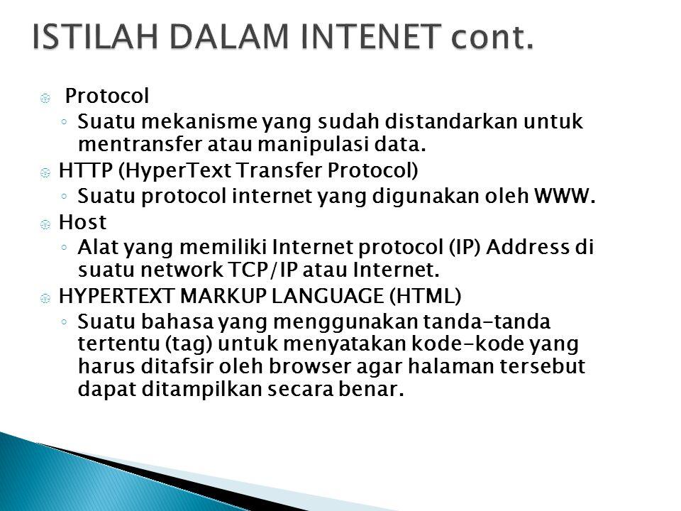  Protocol ◦ Suatu mekanisme yang sudah distandarkan untuk mentransfer atau manipulasi data.  HTTP (HyperText Transfer Protocol) ◦ Suatu protocol int