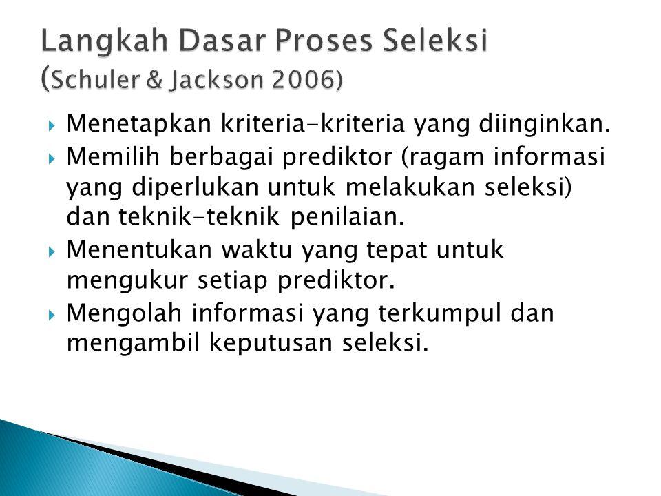  Menetapkan kriteria-kriteria yang diinginkan.  Memilih berbagai prediktor (ragam informasi yang diperlukan untuk melakukan seleksi) dan teknik-tekn
