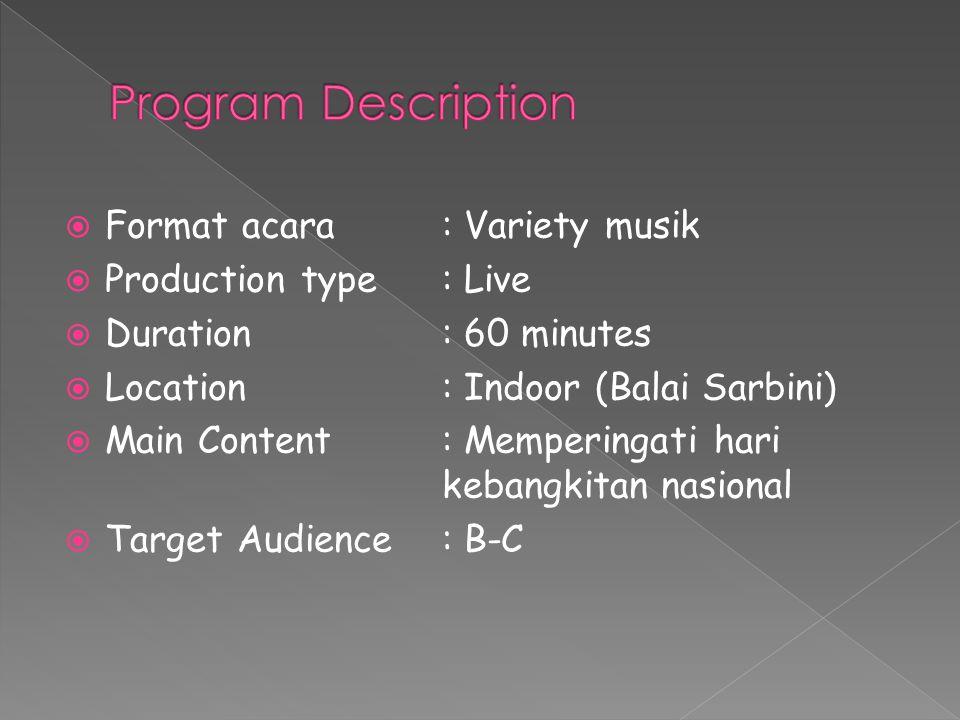  Format acara : Variety musik  Production type: Live  Duration : 60 minutes  Location : Indoor (Balai Sarbini)  Main Content : Memperingati hari kebangkitan nasional  Target Audience: B-C