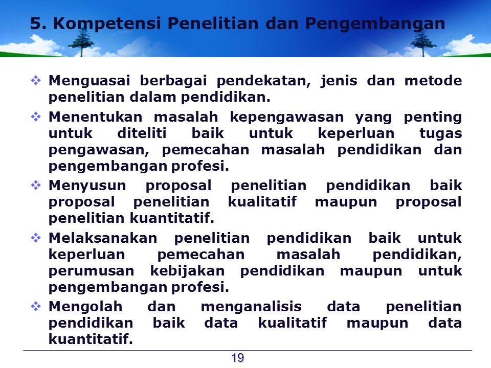 5. Kompetensi Penelitian dan Pengembangan  Menguasai berbagai pendekatan, jenis dan metode penelitian dalam pendidikan.  Menentukan masalah kepengaw