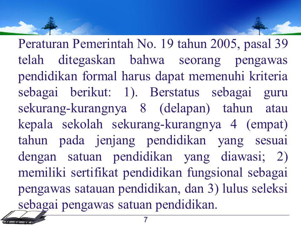 Persyaratan menjadi pengawas dalam Permenpan dan Reformasi Birokrasi no.