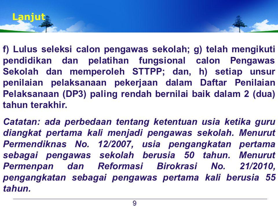  Di samping harus memenuhi persyaratan untuk diangkat sebagai pengawas sekolah baik pada tingkat TK dan SD/ Mi, SMP/Mts dan SMA/MA/SMK/MAK di atur lebih lanjut dalam Permendiknas.