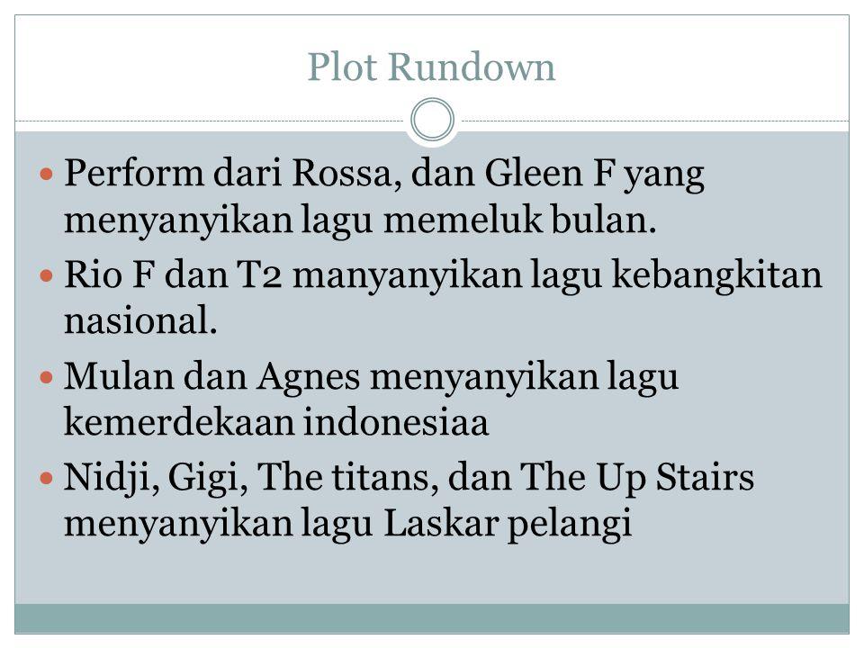 Plot Rundown Perform dari Rossa, dan Gleen F yang menyanyikan lagu memeluk bulan. Rio F dan T2 manyanyikan lagu kebangkitan nasional. Mulan dan Agnes