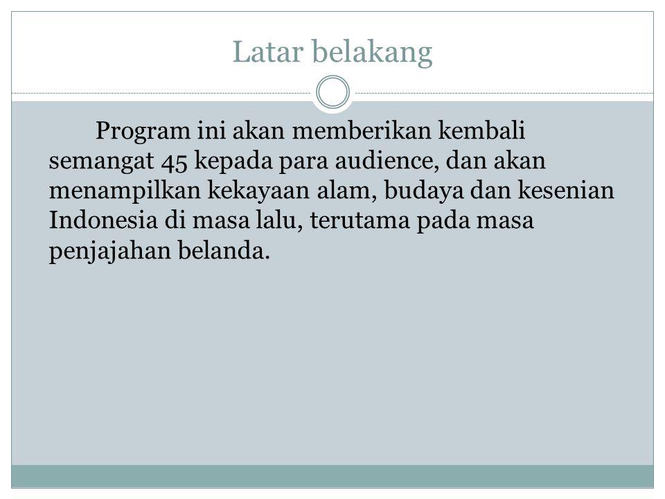 Latar belakang Program ini akan memberikan kembali semangat 45 kepada para audience, dan akan menampilkan kekayaan alam, budaya dan kesenian Indonesia
