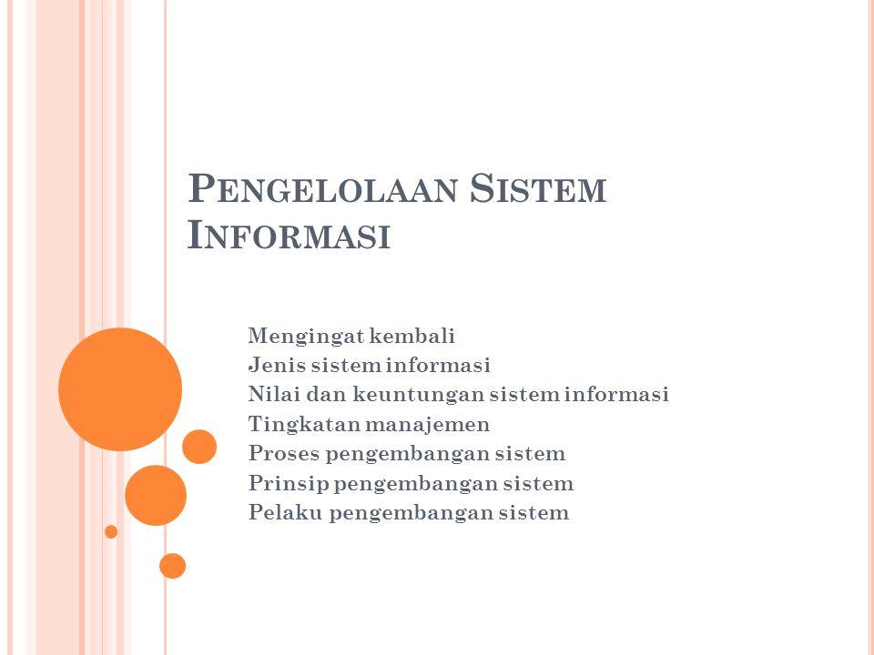 P ENGELOLAAN S ISTEM I NFORMASI Mengingat kembali Jenis sistem informasi Nilai dan keuntungan sistem informasi Tingkatan manajemen Proses pengembangan