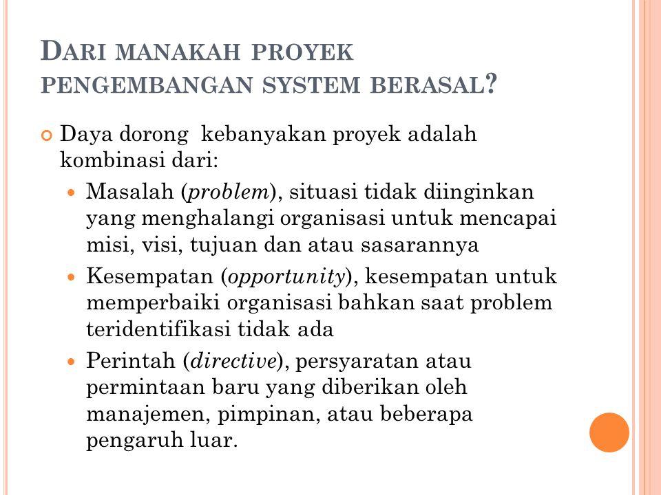 D ARI MANAKAH PROYEK PENGEMBANGAN SYSTEM BERASAL ? Daya dorong kebanyakan proyek adalah kombinasi dari: Masalah ( problem ), situasi tidak diinginkan