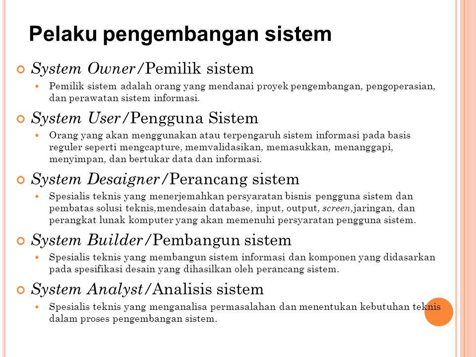Pelaku pengembangan sistem System Owner/ Pemilik sistem Pemilik sistem adalah orang yang mendanai proyek pengembangan, pengoperasian, dan perawatan si