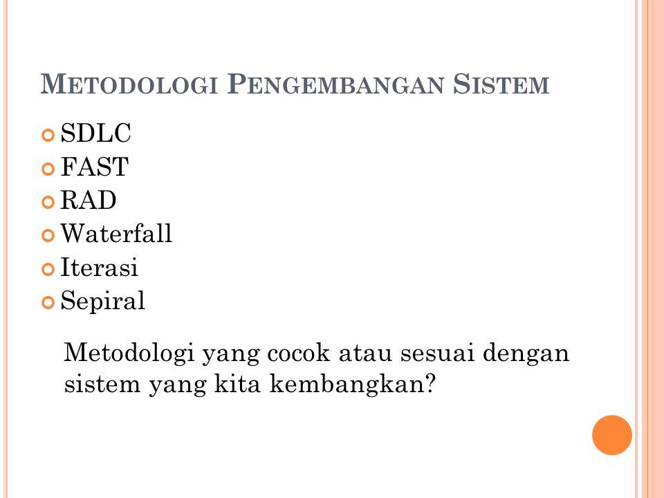 M ETODOLOGI P ENGEMBANGAN S ISTEM SDLC FAST RAD Waterfall Iterasi Sepiral Metodologi yang cocok atau sesuai dengan sistem yang kita kembangkan?