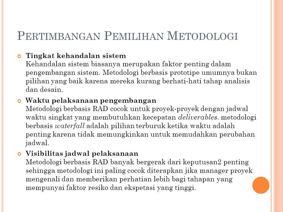 P ERTIMBANGAN P EMILIHAN M ETODOLOGI Tingkat kehandalan sistem Kehandalan sistem biasanya merupakan faktor penting dalam pengembangan sistem. Metodolo