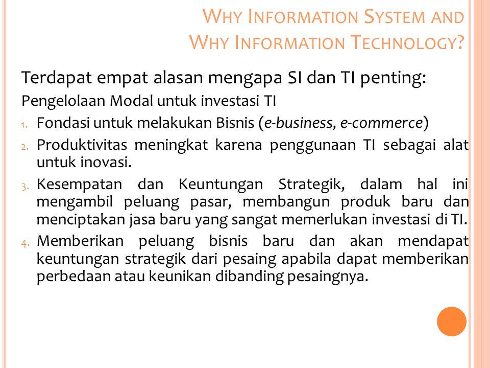 Terdapat empat alasan mengapa SI dan TI penting: Pengelolaan Modal untuk investasi TI 1. Fondasi untuk melakukan Bisnis (e-business, e-commerce) 2. Pr