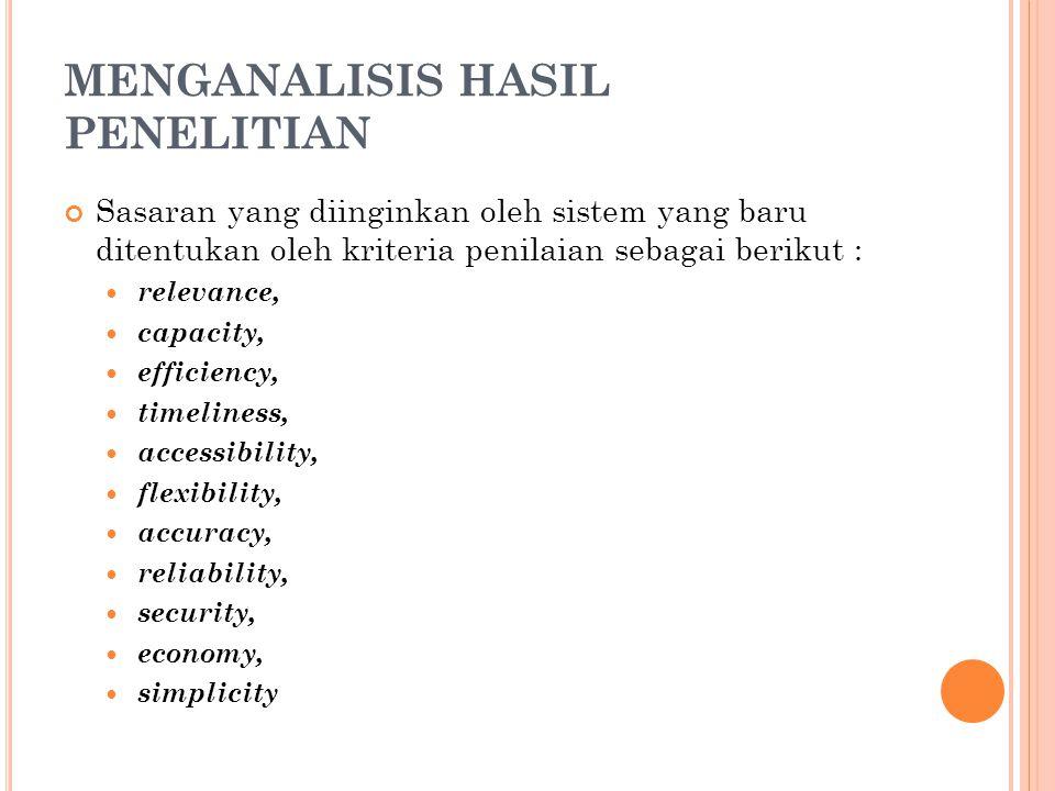 MENGANALISIS HASIL PENELITIAN Sasaran yang diinginkan oleh sistem yang baru ditentukan oleh kriteria penilaian sebagai berikut : relevance, capacity,