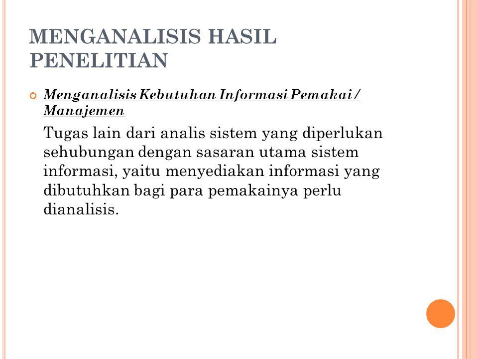 MENGANALISIS HASIL PENELITIAN Menganalisis Kebutuhan Informasi Pemakai / Manajemen Tugas lain dari analis sistem yang diperlukan sehubungan dengan sas