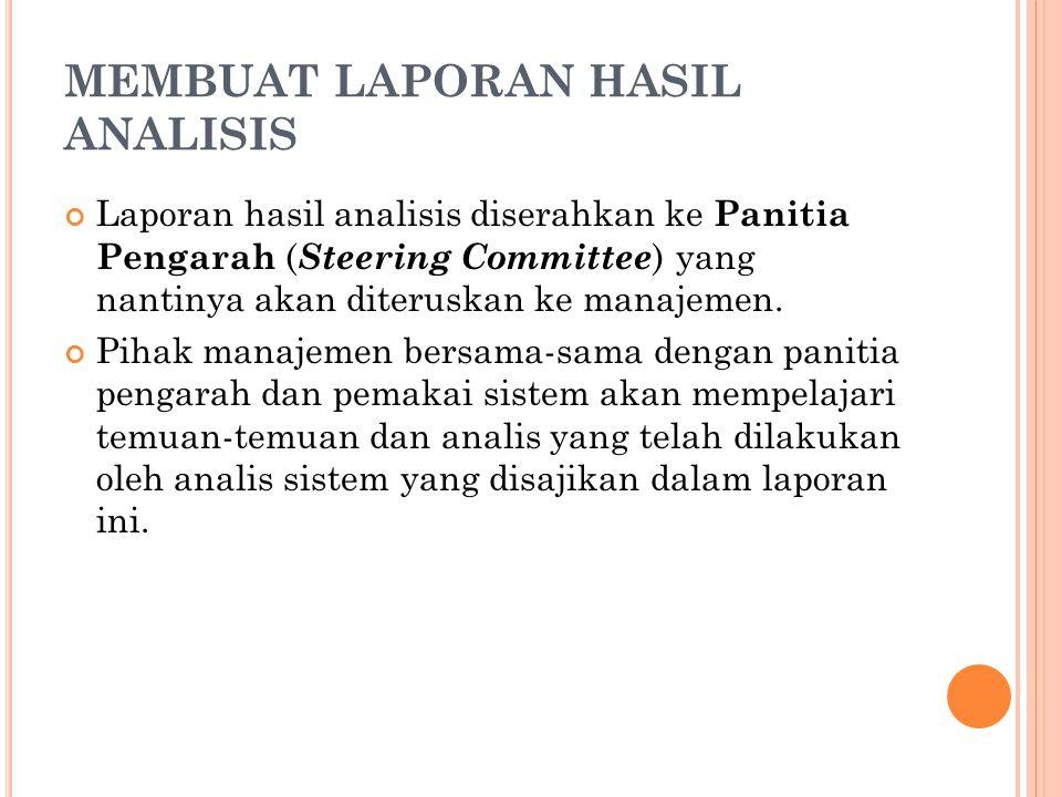 MEMBUAT LAPORAN HASIL ANALISIS Laporan hasil analisis diserahkan ke Panitia Pengarah ( Steering Committee ) yang nantinya akan diteruskan ke manajemen