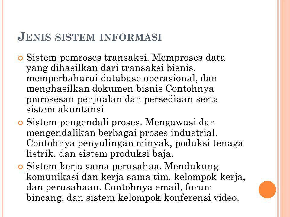 J ENIS SISTEM INFORMASI Sistem pemroses transaksi. Memproses data yang dihasilkan dari transaksi bisnis, memperbaharui database operasional, dan mengh