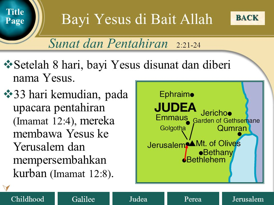 Judea Galilee ChildhoodPereaJerusalem  Setelah 8 hari, bayi Yesus disunat dan diberi nama Yesus. Sunat dan Pentahiran 2:21-24 BACK   33 hari kemudi