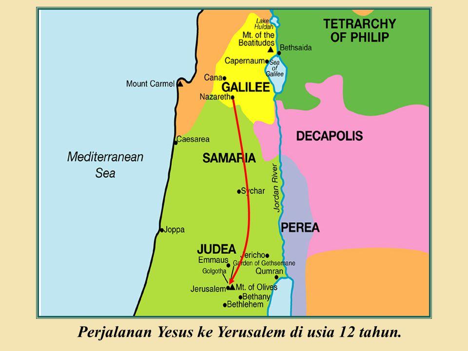Judea Galilee ChildhoodPereaJerusalem Perjalanan Yesus ke Yerusalem di usia 12 tahun.