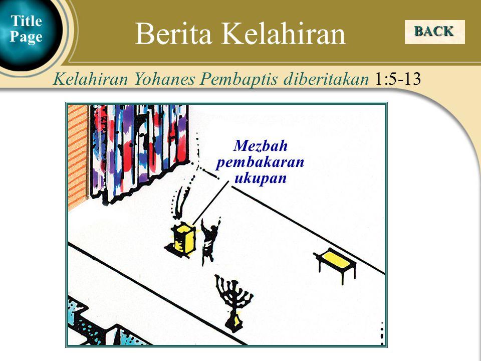 Judea Galilee ChildhoodPereaJerusalem Mezbah pembakaran ukupan BACK Kelahiran Yohanes Pembaptis diberitakan 1:5-13 Berita Kelahiran Title Page