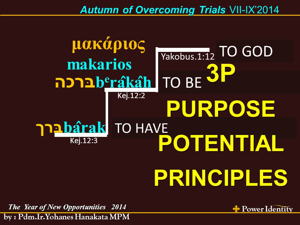 Power Identity by : Pdm.Ir.Yohanes Hanakata MPM The Year of New Opportunities 2014 Autumn of Overcoming Trials Autumn of Overcoming Trials VII-IX'2014 A pessimist sees the difficulty in every opportunity, an optimist sees the opportunity in every difficulty. Winston Churchill