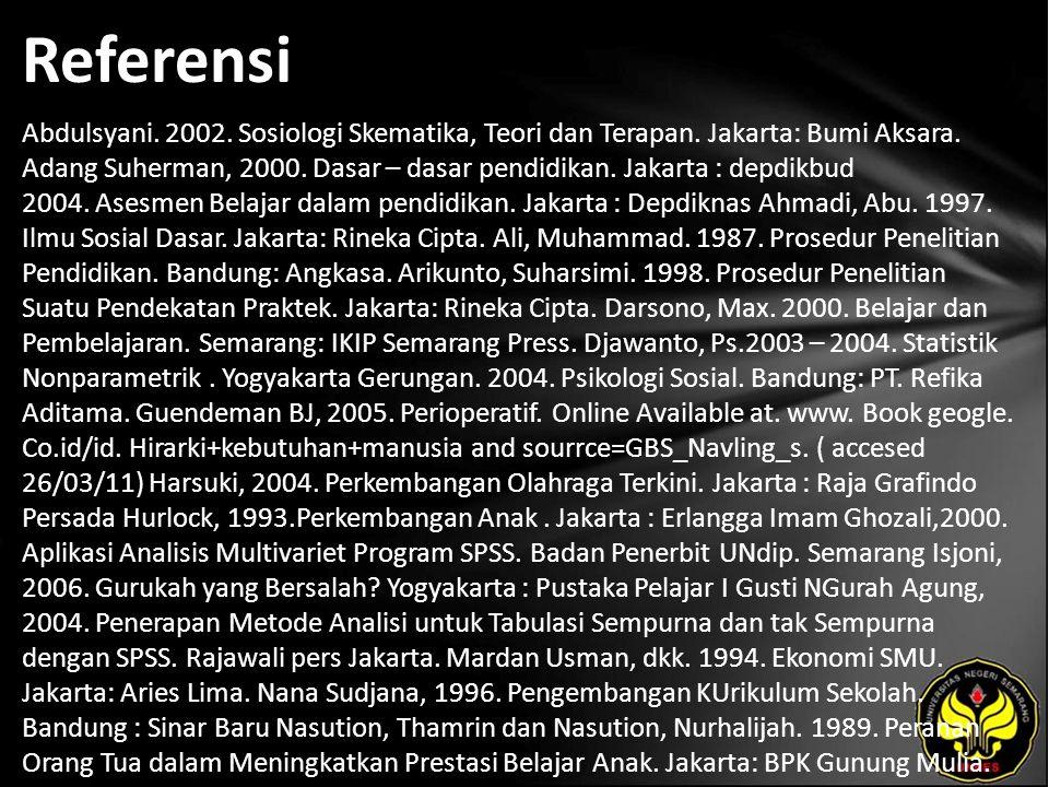 Referensi Abdulsyani. 2002. Sosiologi Skematika, Teori dan Terapan. Jakarta: Bumi Aksara. Adang Suherman, 2000. Dasar – dasar pendidikan. Jakarta : de