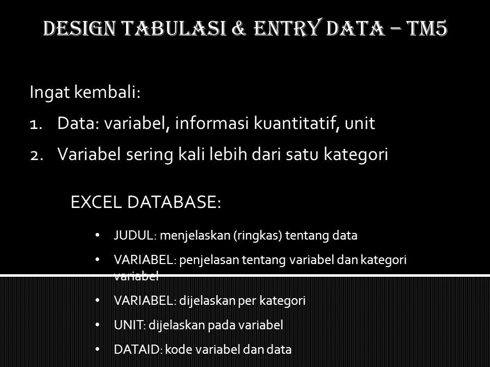 Ingat kembali: 1.Data: variabel, informasi kuantitatif, unit 2.Variabel sering kali lebih dari satu kategori EXCEL DATABASE: JUDUL: menjelaskan (ringk