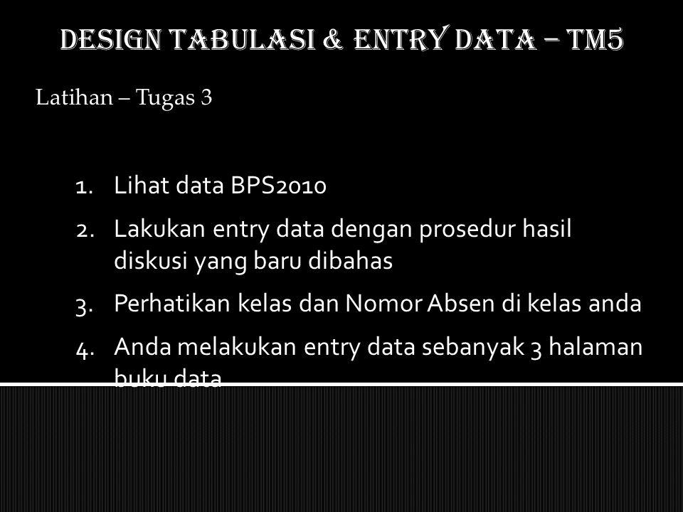 Latihan – Tugas 3 1.Lihat data BPS2010 2.Lakukan entry data dengan prosedur hasil diskusi yang baru dibahas 3.Perhatikan kelas dan Nomor Absen di kela