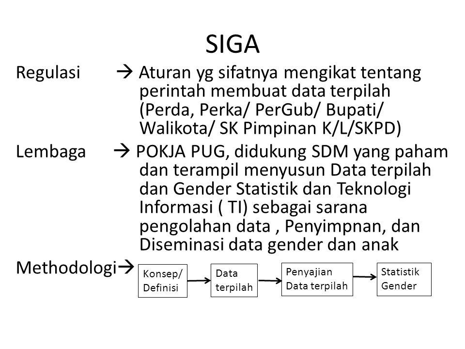 SIGA Regulasi  Aturan yg sifatnya mengikat tentang perintah membuat data terpilah (Perda, Perka/ PerGub/ Bupati/ Walikota/ SK Pimpinan K/L/SKPD) Lemb
