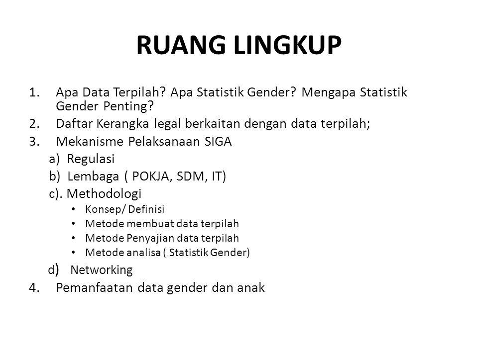 RUANG LINGKUP 1.Apa Data Terpilah? Apa Statistik Gender? Mengapa Statistik Gender Penting? 2.Daftar Kerangka legal berkaitan dengan data terpilah; 3.M