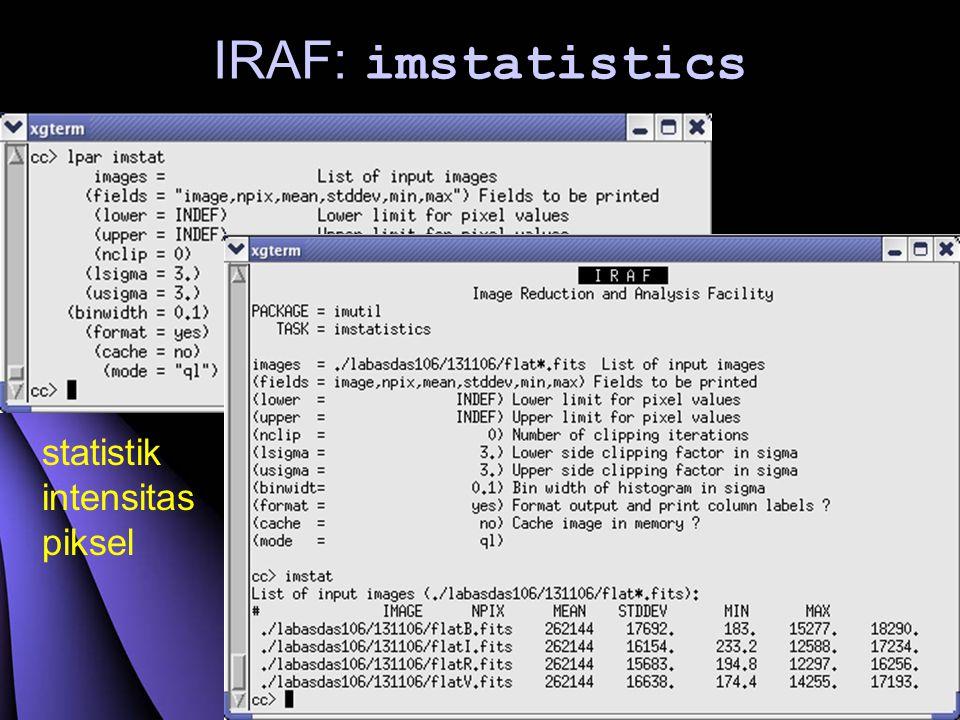 IRAF: imstatistics statistik intensitas piksel
