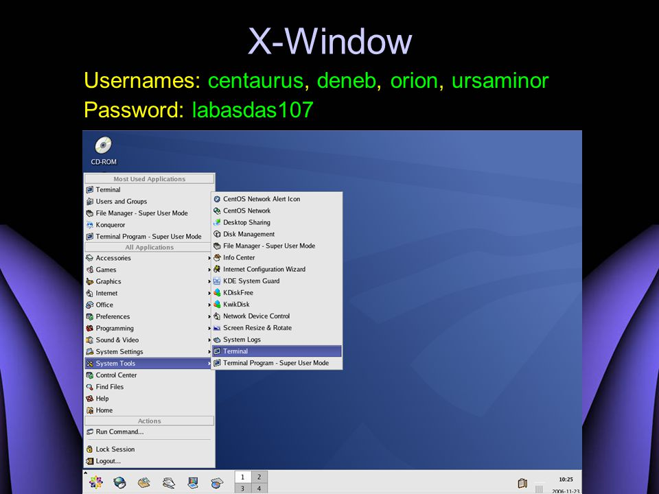 X-Window Usernames: centaurus, deneb, orion, ursaminor Password: labasdas107