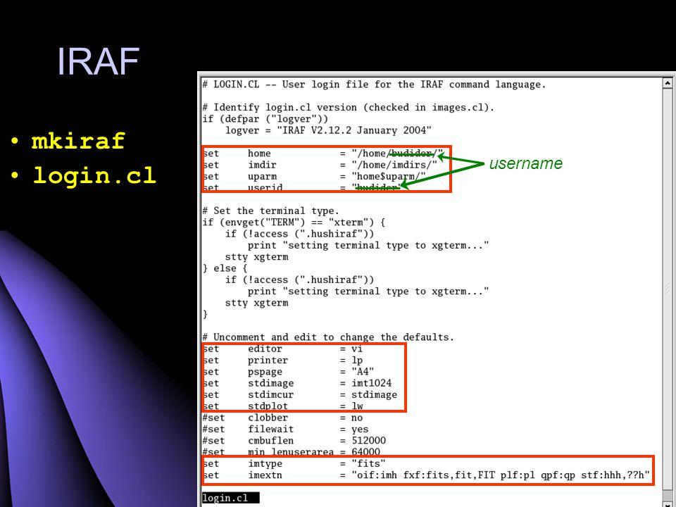 IRAF mkiraf login.cl username