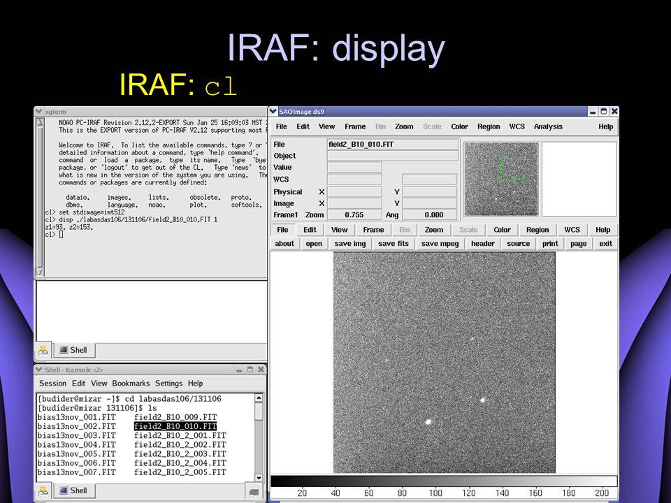 IRAF: display IRAF: cl