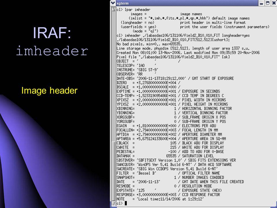 IRAF: hselect Ekstrak informasi dari image header