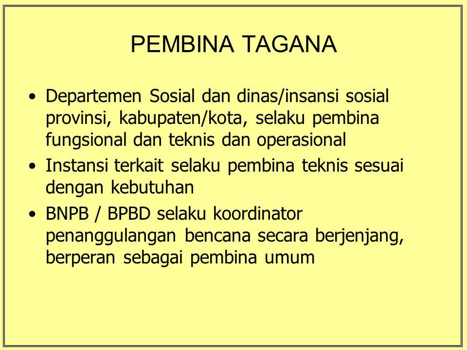 PEMBINA TAGANA Departemen Sosial dan dinas/insansi sosial provinsi, kabupaten/kota, selaku pembina fungsional dan teknis dan operasional Instansi terk