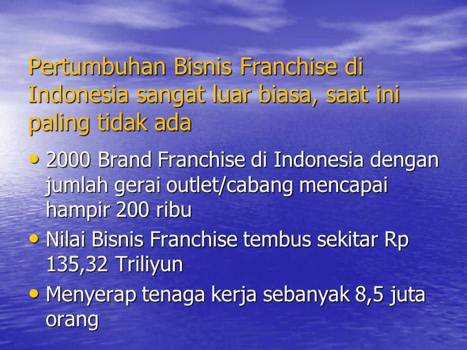 Pertumbuhan Bisnis Franchise di Indonesia sangat luar biasa, saat ini paling tidak ada 2000 Brand Franchise di Indonesia dengan jumlah gerai outlet/ca