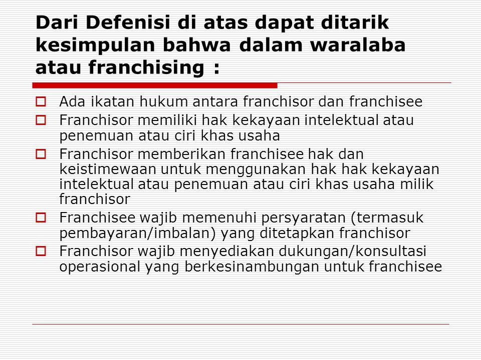 Dari Defenisi di atas dapat ditarik kesimpulan bahwa dalam waralaba atau franchising :  Ada ikatan hukum antara franchisor dan franchisee  Franchiso