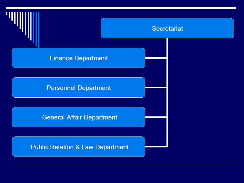 Secretariat Finance Department Personnel Department General Affair Department Public Relation & Law Department