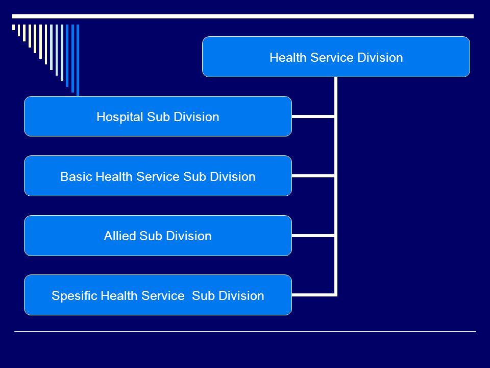 Health Service Division Hospital Sub Division Basic Health Service Sub Division Allied Sub Division Spesific Health Service Sub Division