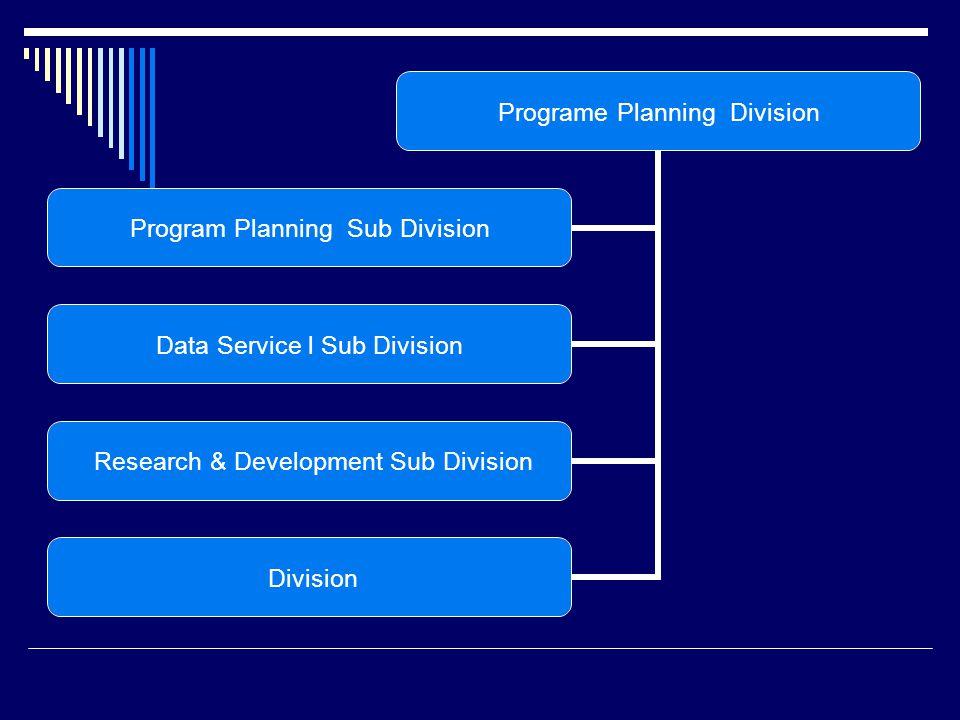 Programe Planning Division Program Planning Sub Division Data Service l Sub Division Research & Development Sub Division Division