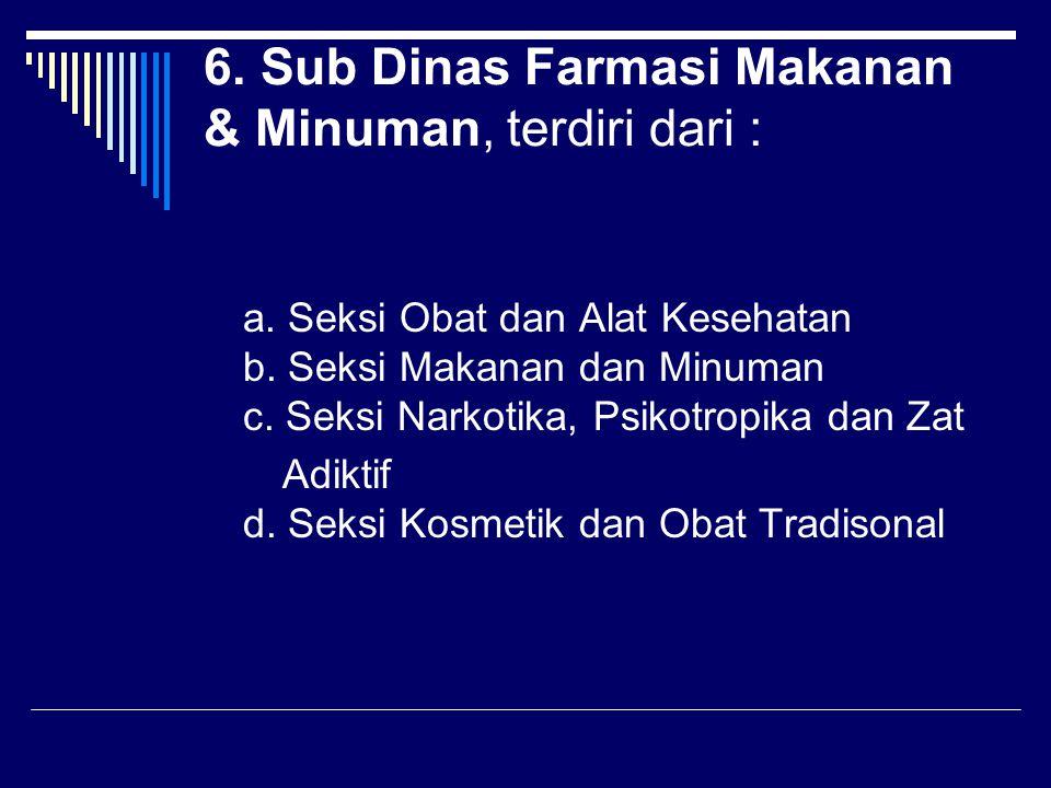 6. Sub Dinas Farmasi Makanan & Minuman, terdiri dari : a. Seksi Obat dan Alat Kesehatan b. Seksi Makanan dan Minuman c. Seksi Narkotika, Psikotropika