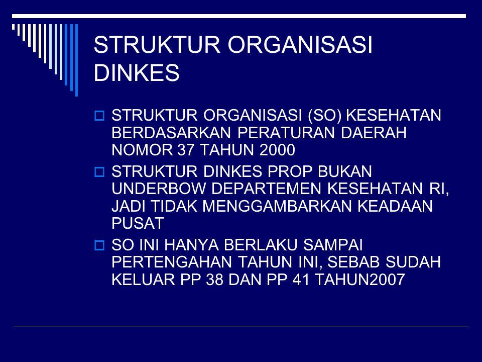 STRUKTUR ORGANISASI DINKES  STRUKTUR ORGANISASI (SO) KESEHATAN BERDASARKAN PERATURAN DAERAH NOMOR 37 TAHUN 2000  STRUKTUR DINKES PROP BUKAN UNDERBOW