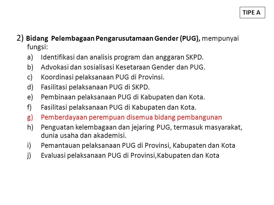 2) Bidang Pelembagaan Pengarusutamaan Gender (PUG), mempunyai fungsi: a)Identifikasi dan analisis program dan anggaran SKPD. b)Advokasi dan sosialisas