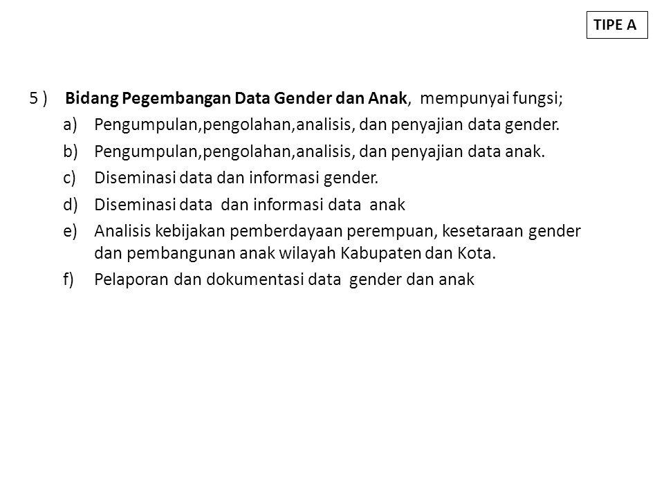 5 ) Bidang Pegembangan Data Gender dan Anak, mempunyai fungsi; a)Pengumpulan,pengolahan,analisis, dan penyajian data gender. b)Pengumpulan,pengolahan,