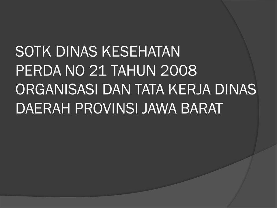 SOTK DINAS KESEHATAN PERDA NO 21 TAHUN 2008 ORGANISASI DAN TATA KERJA DINAS DAERAH PROVINSI JAWA BARAT