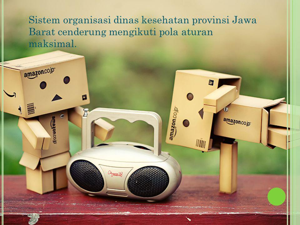 Sistem organisasi dinas kesehatan provinsi Jawa Barat cenderung mengikuti pola aturan maksimal.
