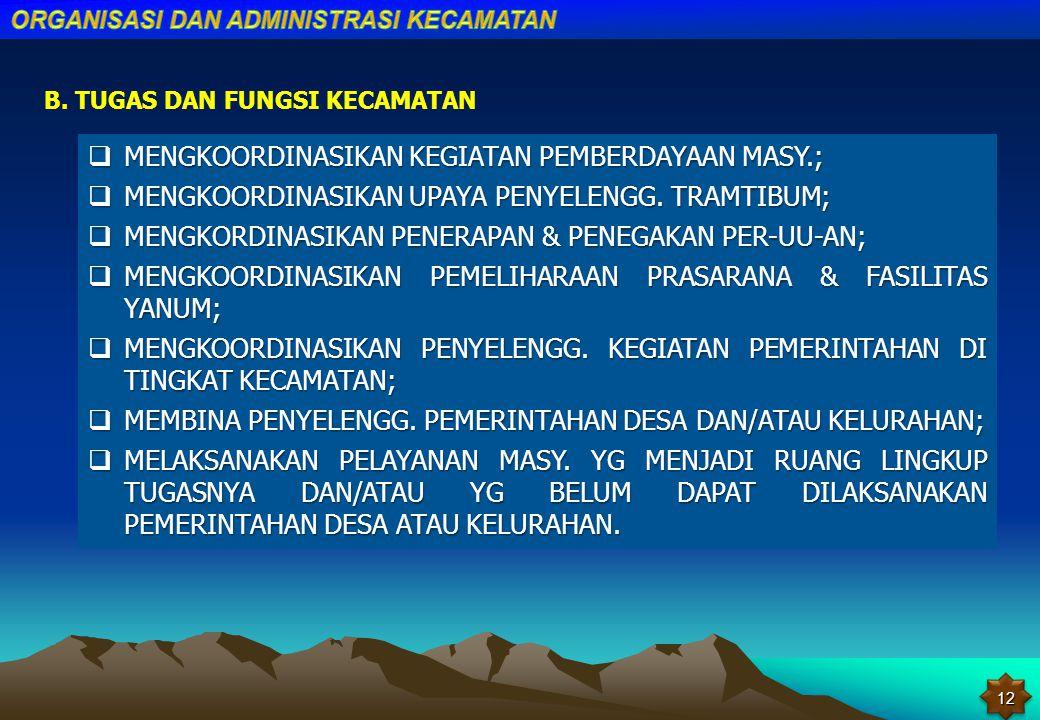 PENJELASAN PASAL 126 AYAT (1) UNDANG-UNDANG NOMOR 32 TAHUN 2004 DIKEMUKAKAN BAHWA KECAMATAN ADALAH WILAYAH KERJA CAMAT SEBAGAI PERANGKAT DAERAH KABUPA