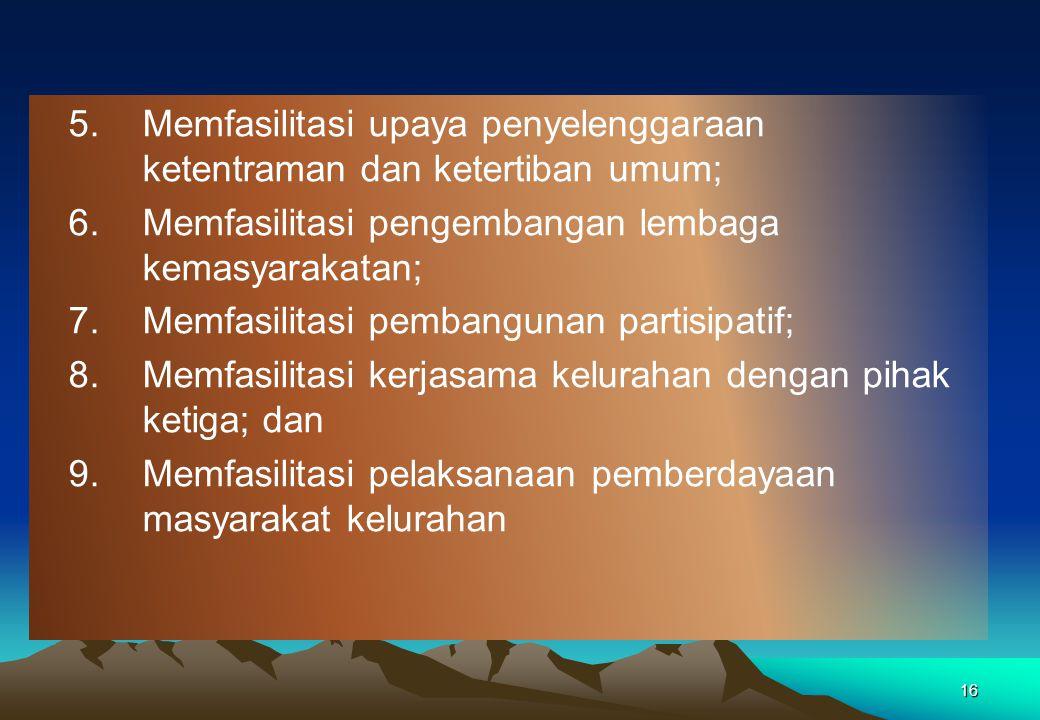 15 Pembinaan Camat Terhadap Kelurahan (PP 73/2005) 1.Memfasilitasi administrasi tata pemerintahan kelurahan; 2.Memfasilitasi pengelolaan keuangan kelu