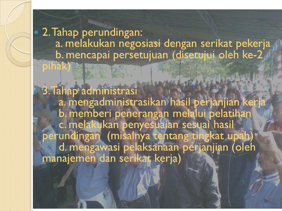 2.Tahap perundingan: a. melakukan negosiasi dengan serikat pekerja b.